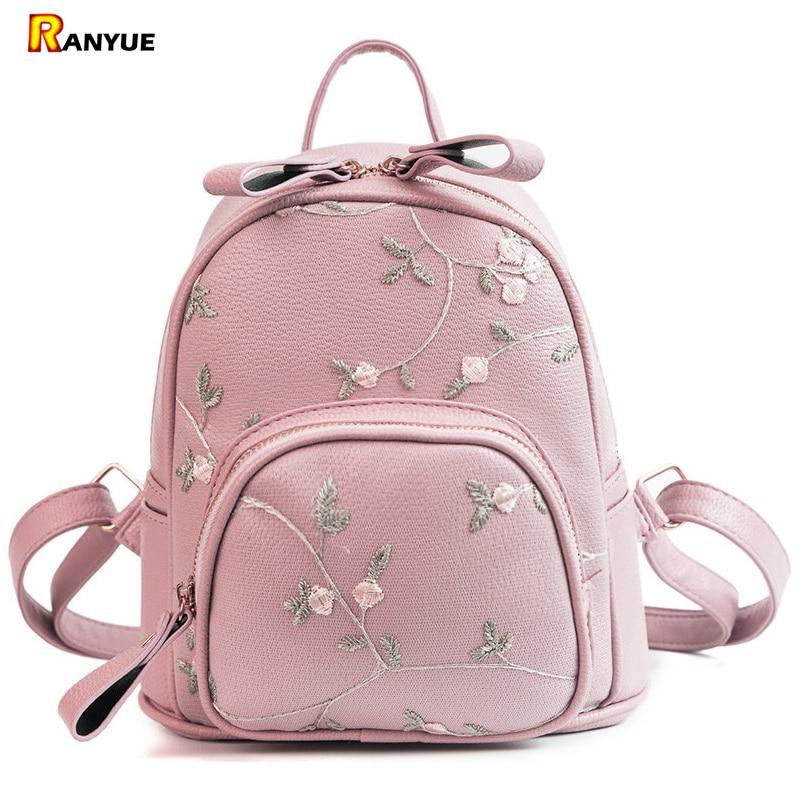 1ac0d20af265 Lace Small Mini Backpacks Women Leather Backpack Flower Floral Backpacks  For Teenage Girls Ladies Female Shoulder School Bags