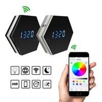 Mini Wifi Camera 1080P Digital Clock Wireless Video Two Way Audio Recorder Night Vision Motion Sensor with Colorful LED Lights