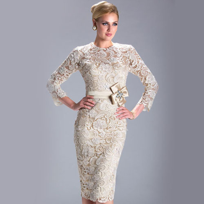 HUIFANY New Design Real Photo Short Evening Dresse Lace Sheath Evening Dress 2017 Long Sleeve Prom