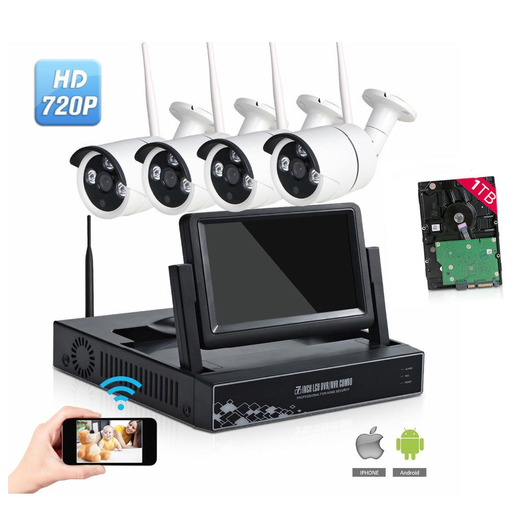 720P Wireless CCTV System 7 Inch Monitor 4CH Wireless NVR IP Camera IR-CUT Bullet Home Security System CCTV Kit WiFi Camera