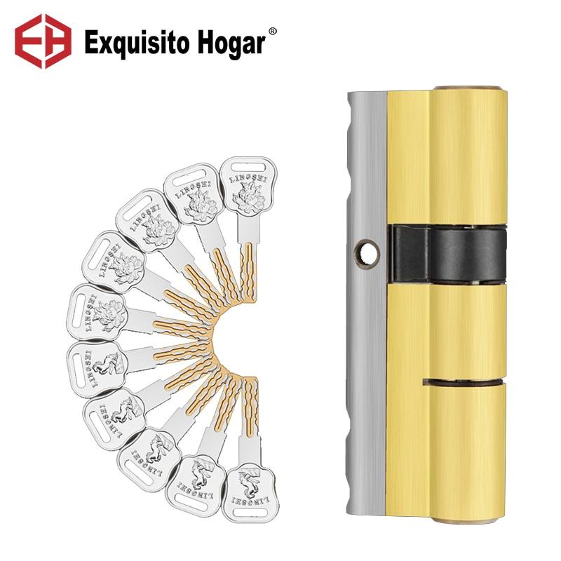 Cylindre de serrure de porte lame Double face | Lame en acier inoxydable Anti-perforation, barre en acier, rainure en serpentin de laiton, serrure de porte 10 clés