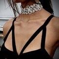 Ladyfirst 2016 moda choker jóia de cristal para noivas strass flores forma colares colares charme jóias acessórios 3576