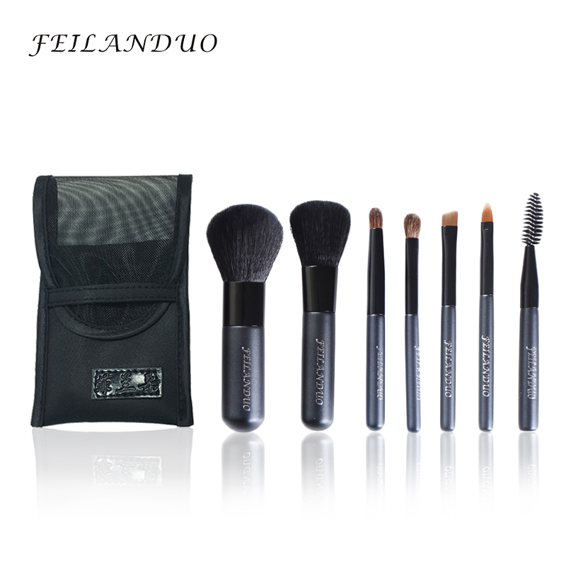 FEILANDUO professionele make-up borstel set 7 stks hoge kwaliteit wol Fiber Makeup Tools Gift met wassen zeep make-up borstels
