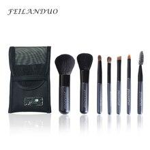Feilanduo Профессиональный набор кистей для макияжа 7 шт. шерсть высокого качества волокна макияж инструментов подарок с мылом мыть составляют щетки