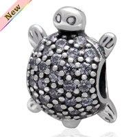 Branco cubic zirconia pedra da tartaruga contas prata 925 jóias fit for pandora charm pulseiras frete grátis