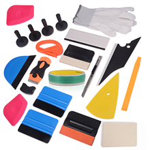 EHDIS 21pcs Vinyl Film Car Wrap Tool Set Wool Squeegee Magnet Holder 500cm Knifeless Tape Vehicle Sticker Wrapping Accessories