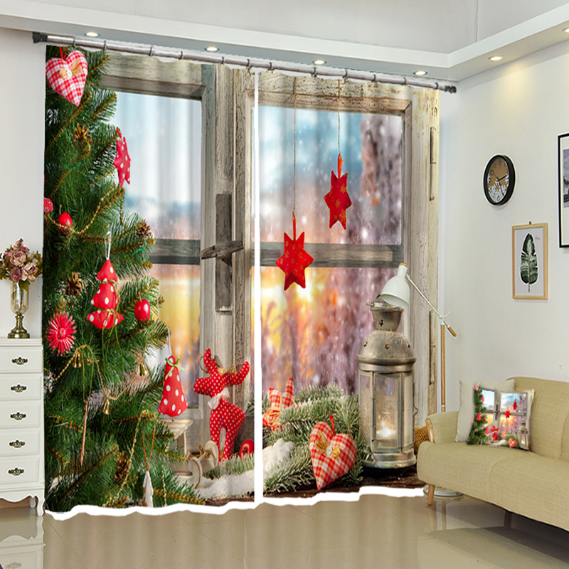 Us 43 89 40 Off Custom 3d Blackout Curtains For Bedroom Joyous Christmas Tree Window Pattern Thicken Polyester Kids Room Curtain For Living Room In