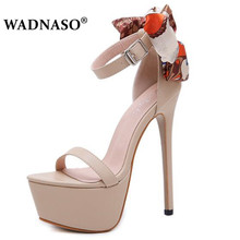 WADNASO NEW 16cm Ultra High Heels Sandals For Women Summer Sexy Butterfly-knot Platform Wedge Club Shoes Woman Sandals Pumps цена