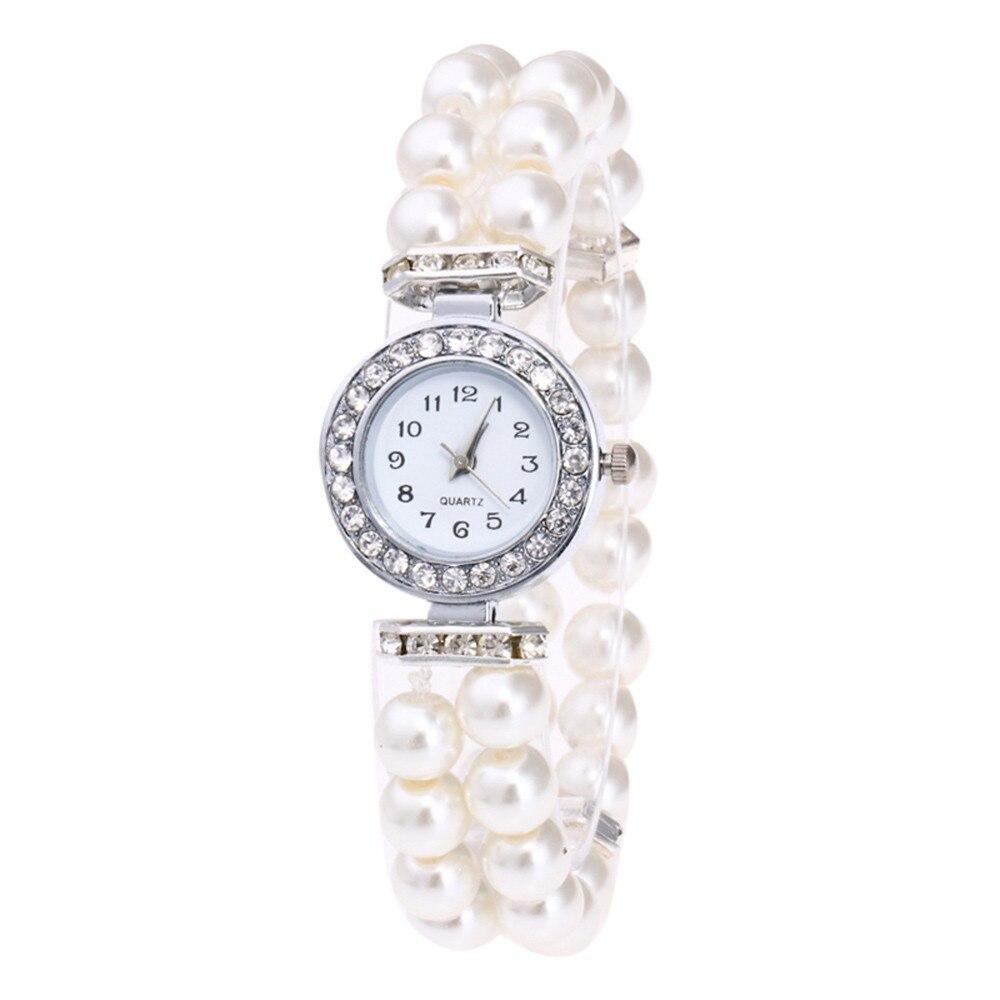 Fashion Simulated Pearl Strap Watch Women Rhinestone Small Dial Bracelet Watch Quartz Wrist Watch Relogio Feminino Clock