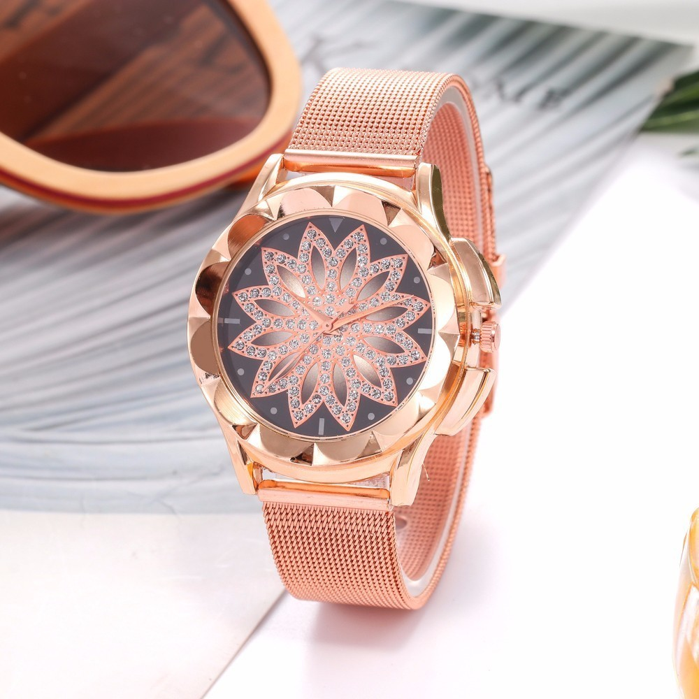 Fashion Women Rose Gold Flower Rhinestone Wrist Watches Luxury Casual Female Quartz Watch Relogio Feminino Drop Shipping  3
