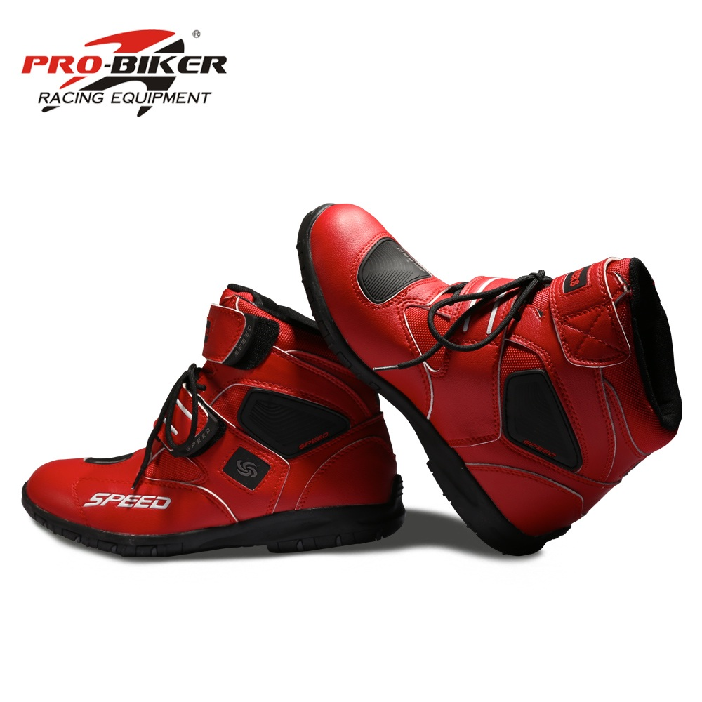 Pro biker SPEED Motorcycle Boots Moto Racing Motocross Motorbike Shoes A005 Black White Red size 38