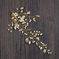 Vintage Golden Leaf Perle Haarnadeln Braut Haar Pin Clip Kristall Braut Tiaras Kopfschmuck Frauen Hochzeit Haar Schmuck Zubehör SL
