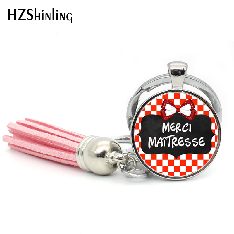 2017 Fashion Merci Maitresse Tassel Key Chain Bohemian Jewelry Quote Keyring Glass Cabochon Keychain Silver Handmade Keychains
