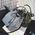 2016 New Fashion Geometric Pieces Contrast Color Bucket Bag Handbag Lattice Shoulder Bag Messenger Bag Patchwork Crossbody bag