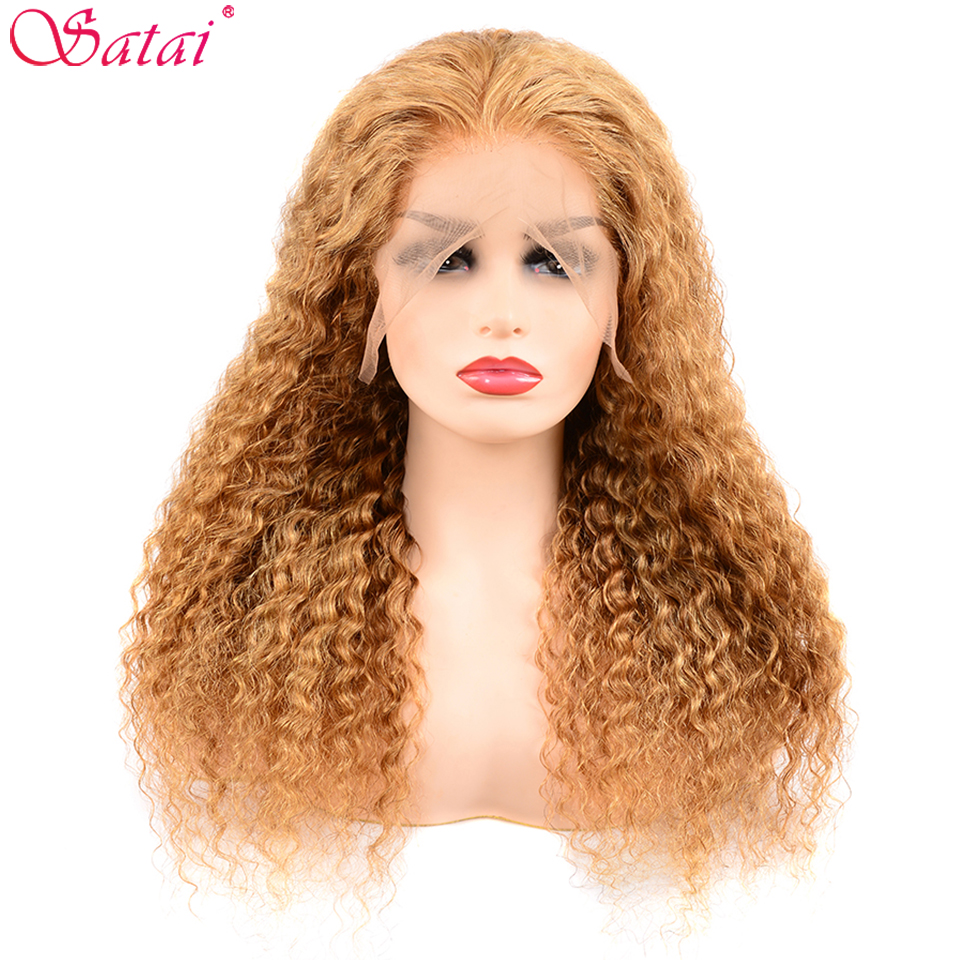 Satai Deep Wave Lace Front Human Hair Wigs Brazilian Remy Front Lace Wig Pre Plucked Natural