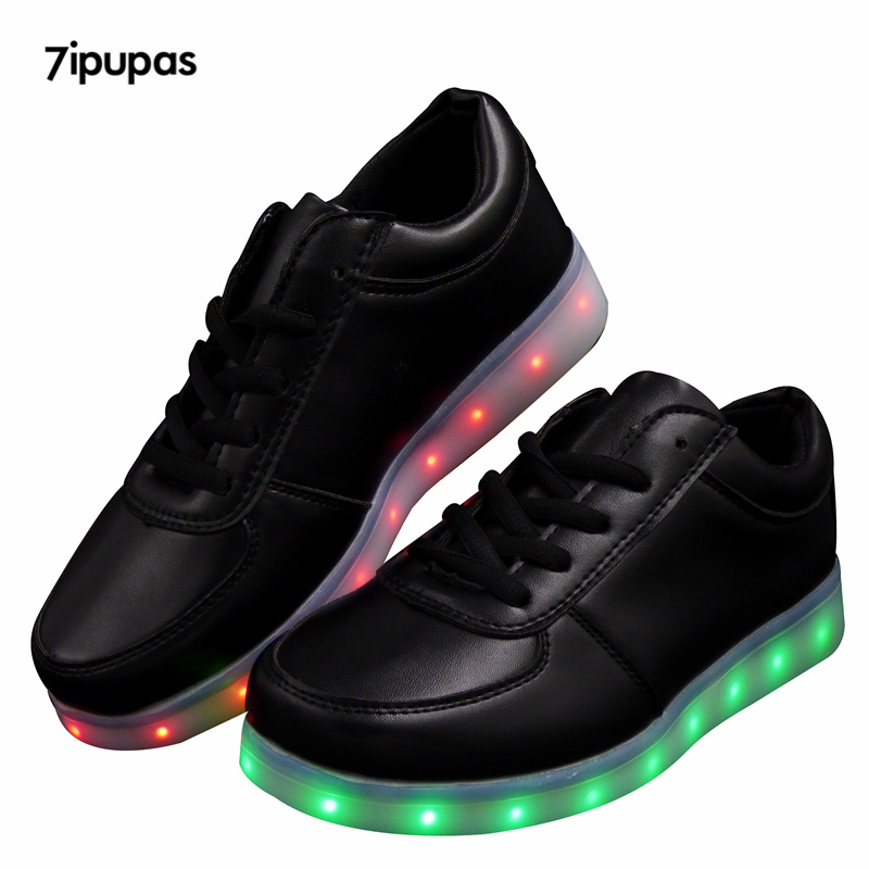 2016 LED Light Up Unisex Chaussures Lumineuse Zapatos Schoenen White Black schuhe luminous lover Adults Couples Casual Shoes Men