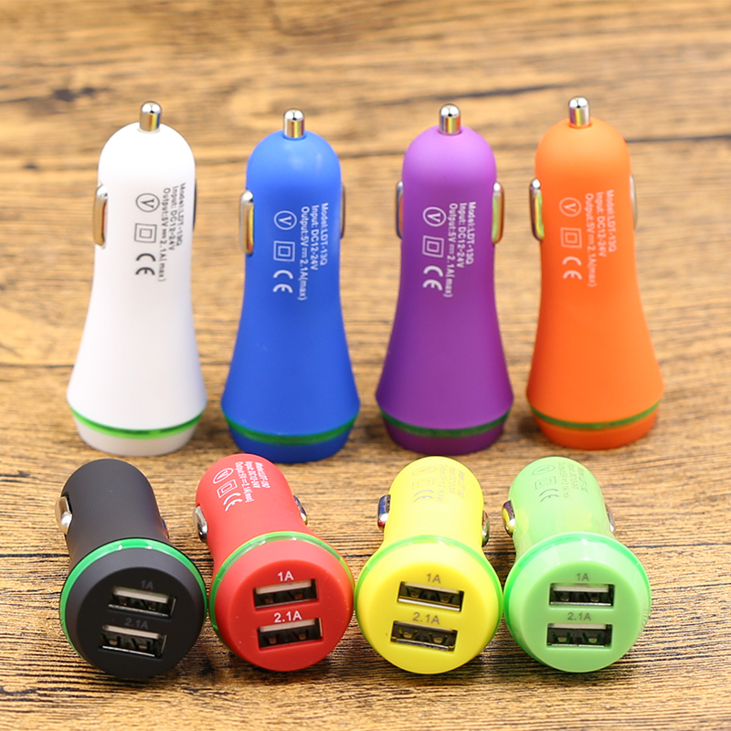 10X Car Charger Dual USB fast Charge For iPhone 6 6s 7 8 Plus Samsung S8 S9 S10 Xiaomi Huawei Rubbe Mini Mobile Phone Adapter