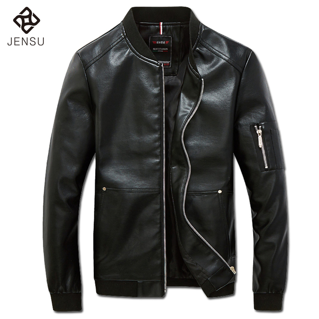 2016 Winter Leather PU Zipper Jackets Coats Outwear Men's Casual Fashion Slim Fit Veste Homme Jackets Jaqueta Masculina M-5XL