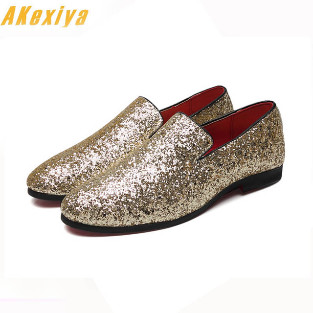 65ca6d50797cd New Designer Men Glitter Gold silver Black Sequins pointed Shoes Loafer For  Male Party Dress wedding shoes moccasins Groom shoes