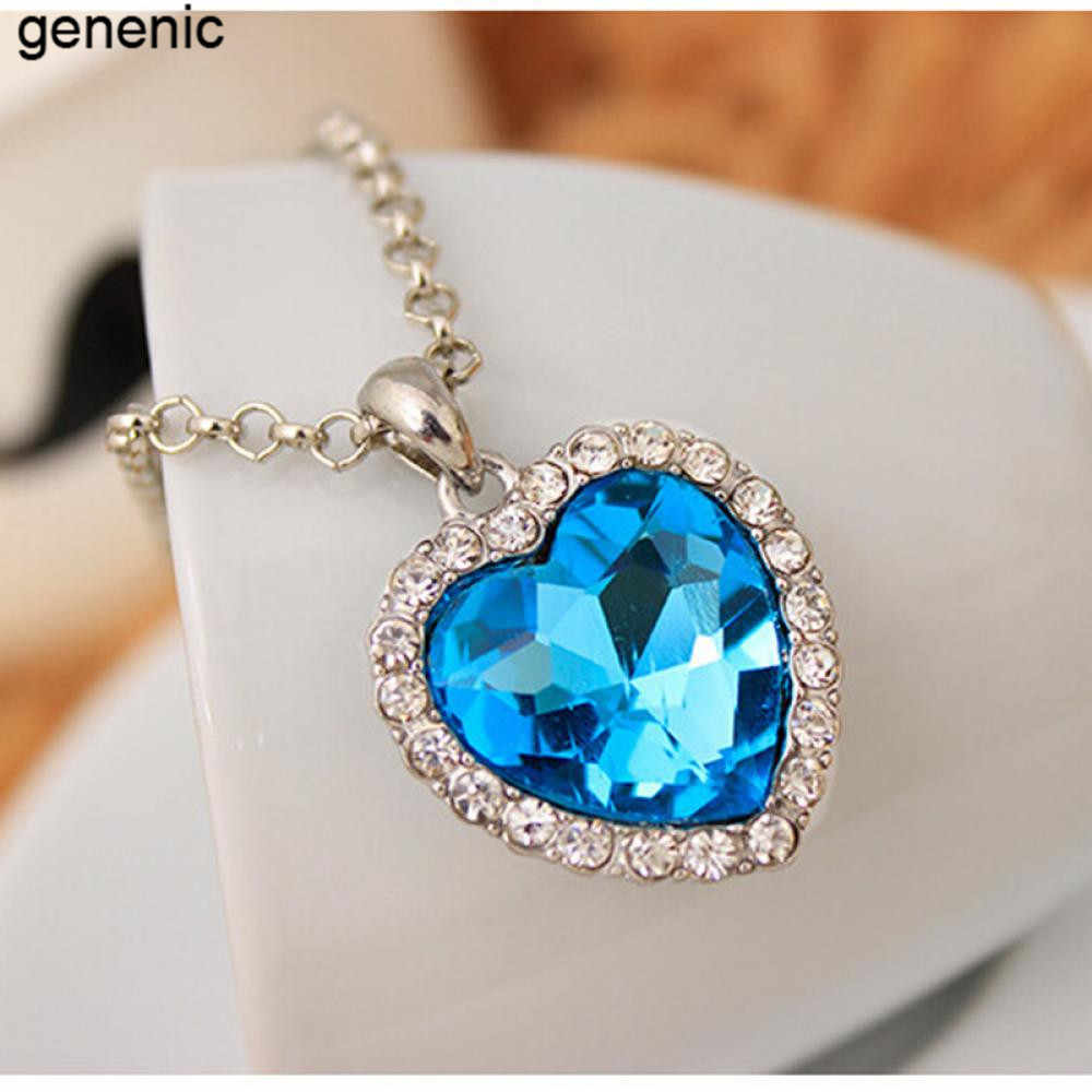1 pc Crystal Pendant Heart Necklace Classic Titanic Ocean Crystal Heart Pendant Necklace Rhinestone Lover Gift woman jewlery