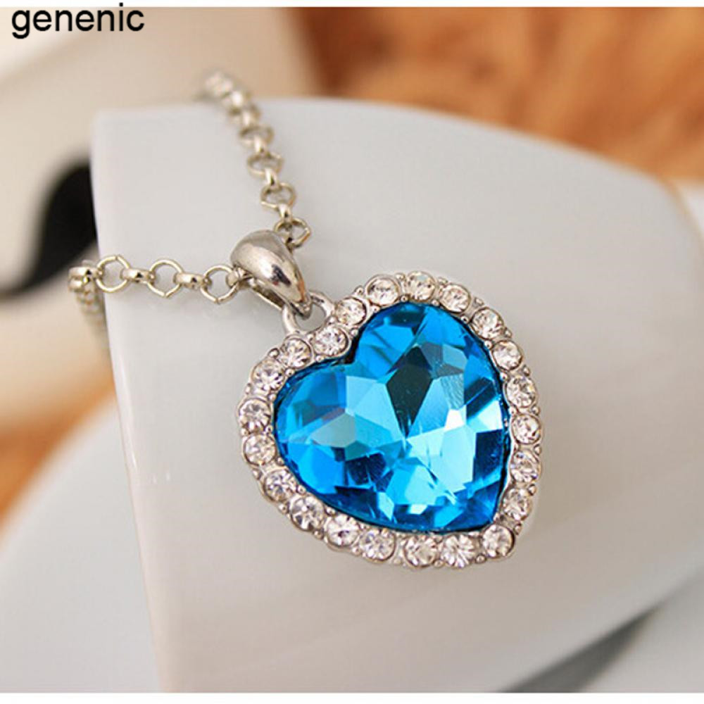 Blue Ocean Crystal Rhinestone Heart Pendant Necklace  Classic Titanic Jewelry Lover Gift Womens Fashion  ...
