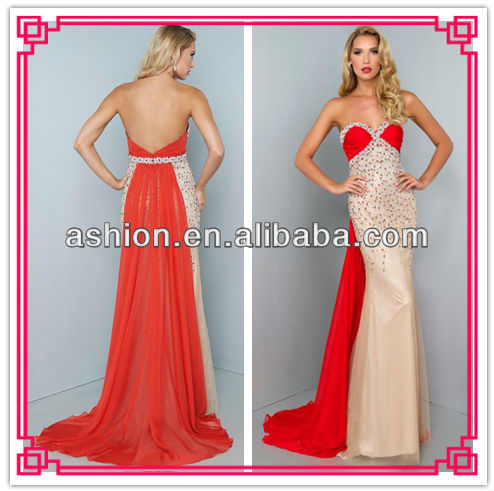ED-2147 Latest design color combination evening dress red and nude evening  gowns fashion 2014