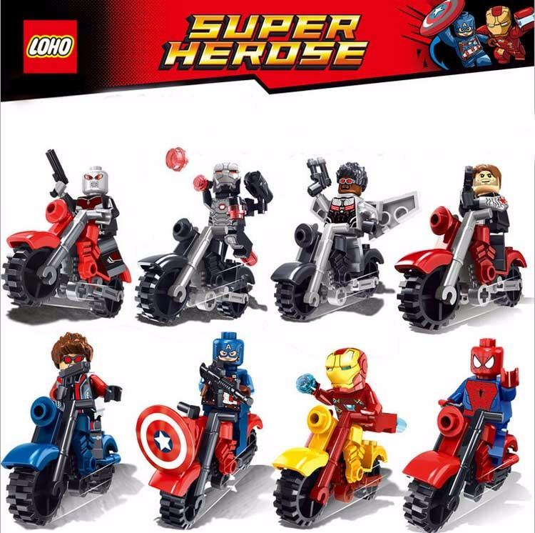 8PCS The Avengers Super Heroes Motorcycle Building Blocks Set Captain America Ironman spiderman Superman Bricks Toys single sale super heroes iron man captain america hulk spiderman bricks building blocks collection toys for children kf217