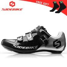 Sidebike/Обувь для велоспорта; Мужская обувь для гонок; обувь для шоссейного велосипеда; самоблокирующаяся на вершине велосипеда; спортивные ультралегкие Профессиональные черные колонки