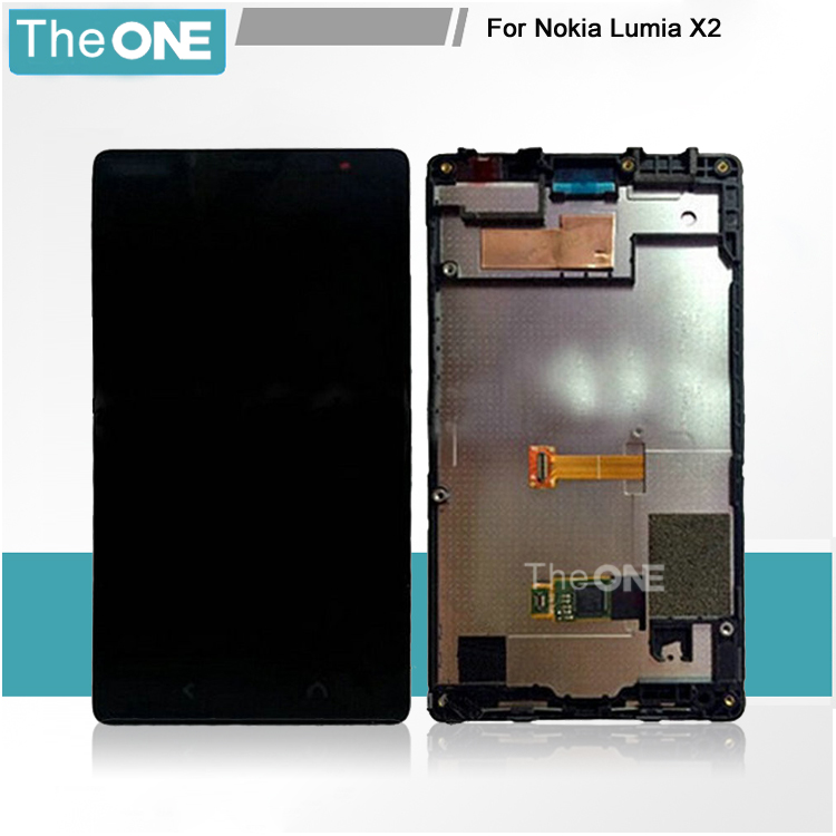 ФОТО LCD Screen For Nokia Lumia X2 LCD Display Touch Screen Digitizer + Frame Full Assembly With Logo Replacement Black In Stock