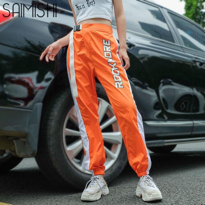 Saimishi High Waist Sweatpants Women Casual Streetwear   Capri     Pants   Womens Patchwork Track   Pants   Letter Print Long Trousers