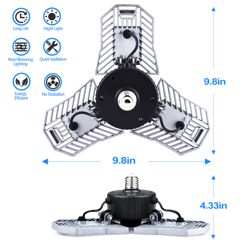 Tanbaby 60W E27 Led Deformable Lamp High Intensity 6000LM Radar Indoor Light LED Studio Garage Industrial Warehouse Mining LampTanbaby 60W E27 Led Deformable Lamp High Intensity 6000LM Radar Indoor Light LED Studio Garage Industrial Warehouse Mining Lamp