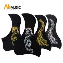 Phoenix And Dragon Pattern Acoustic Guitar Pickguard Pick Guard Sticker Bird Style Black(China)