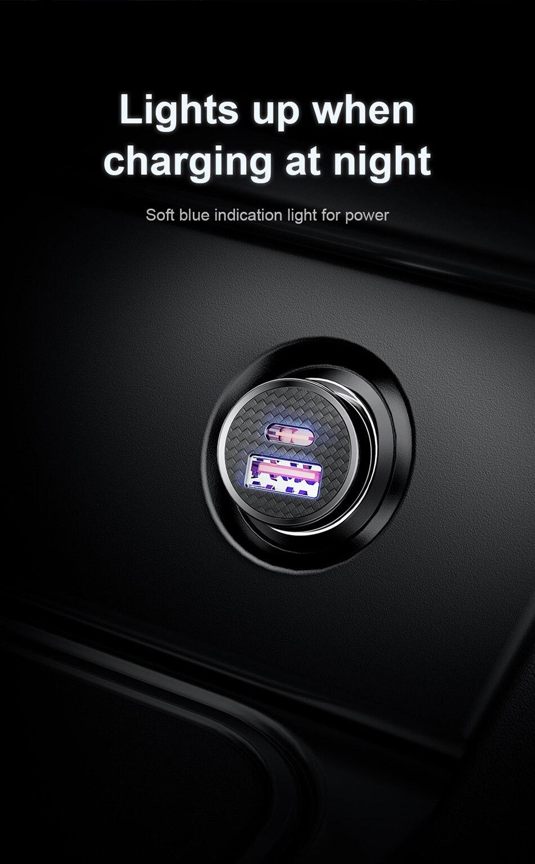Baseus ταχυφορτιστής αυτοκινήτου usb car charger 30w 5a msow