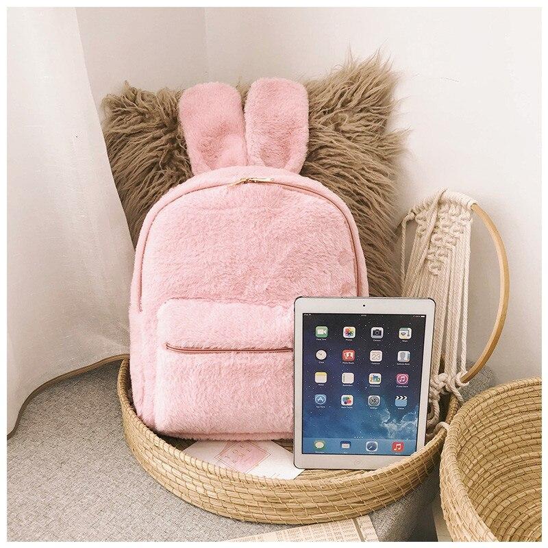 Cute Faux Fur Backpack Rabbit Ear Winter Soft Women S Big Furry ... d4427bb08b6eb