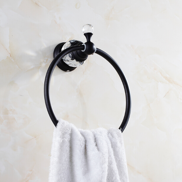 ФОТО Free Shipping Solid Brass and Diamond Towel Ring Black Oil Brushed Bathroom Accessories Products ,Towel Holder,Towel hanger