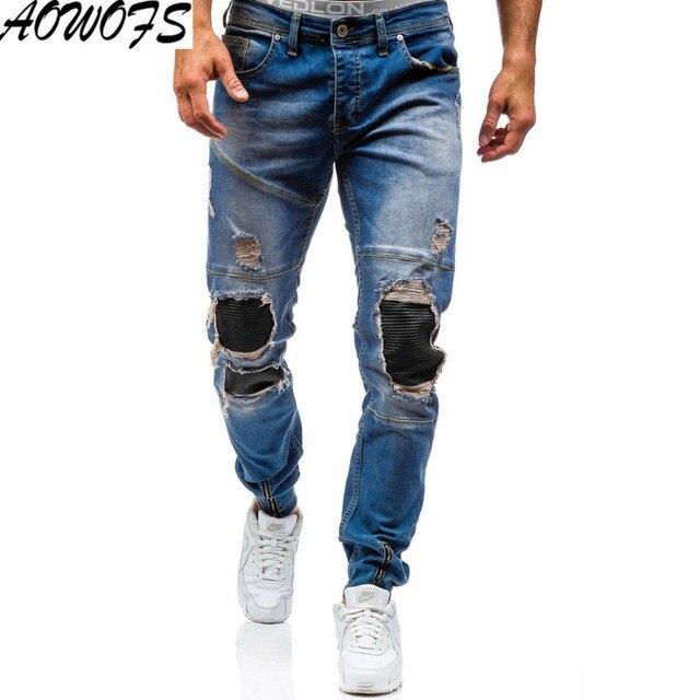 fe4bdedfa 2018 nuevos hombres de la llegada pantalones vaqueros rotos agujero Washed  Denim Casual PU patchwork jeans