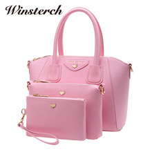 2017 Fashion PU Leather Bags Handbags Sets for Women Famous Brands Messenger Bags Portable Female Casual