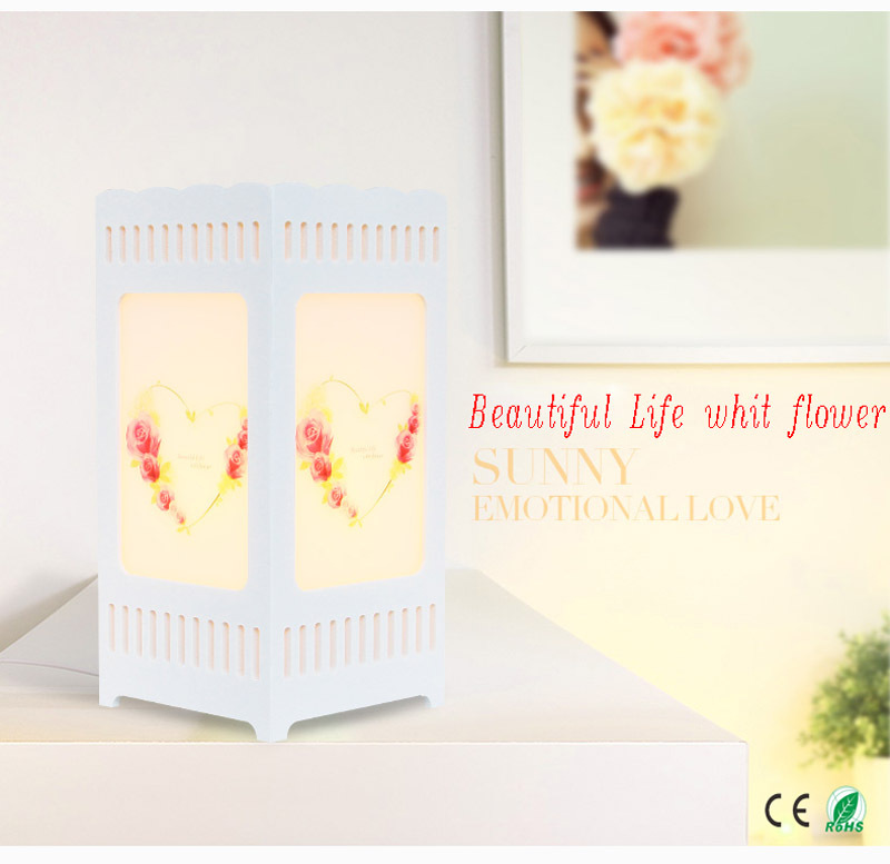 ФОТО Beautiful Life with flower printing table lamp Ivory white Modern decoration art Lovers heart abajur; size12*12*25 giving LED