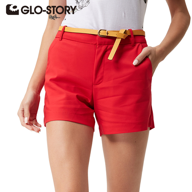 GLO-STORY 2017 Casual shorts Women High Quality Solid Summer Shorts Office Style short Femme Plus Size Pantalones cortos 1179