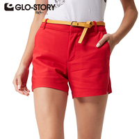 GLO STORY 2016 Summer Women Shorts High Quality Solid Summer Shorts Office Style Short Femme Plus