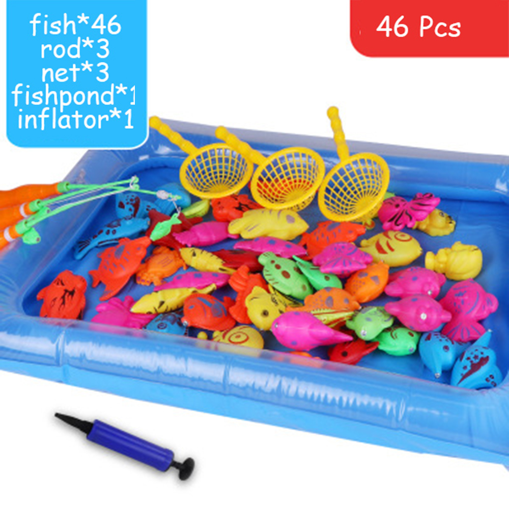 46pcs/lot With Inflatable Pool Magnetic Fishing Toy Rod Net Set For Kids Early Education Model Play Fishing Games Outdoor Toys