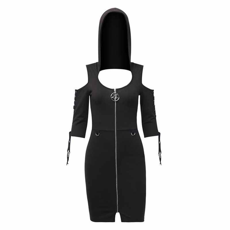 Летний сексуальный клуб готический, панк, черный женский мини платья Bodycon с капюшоном с открытыми плечами Простые Вечерние полые Harajuku женское готическое платье