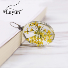 Luyun Stainless Steel Jewelry Women Oval Dried Flower Necklace Handmade Wholesale
