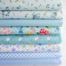 8 padrões selecionados adorável azul fresco 100% algodão patchwork tecido para costura 25 x 25 cm
