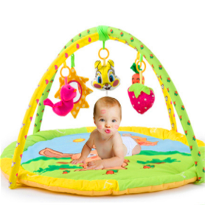 Baby Crawling Play Mat Thickness 90x90CM Padded Cotton Play Blanket Fitness Frame Cute Toys Game Pads for Infants Home Portable