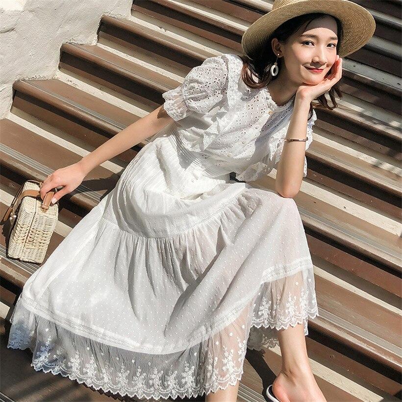 Femmes longue Maxi robe 2019 été blanc broderie plage robe femme douce bouffée à manches courtes robe de soirée dentelle coton robe