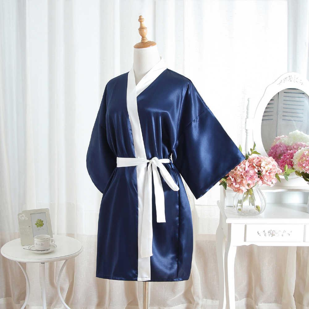 כחול כהה קיץ זהורית גברת חלוק כתנות לילה חלוק אמבט שמלה קצר נשים קימונו כתונת לילה הלבשת פיג 'מה Mujer גודל אחת 002