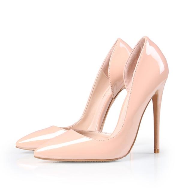 original apricot color bottom sole 12cm women pumps pointed toe side
