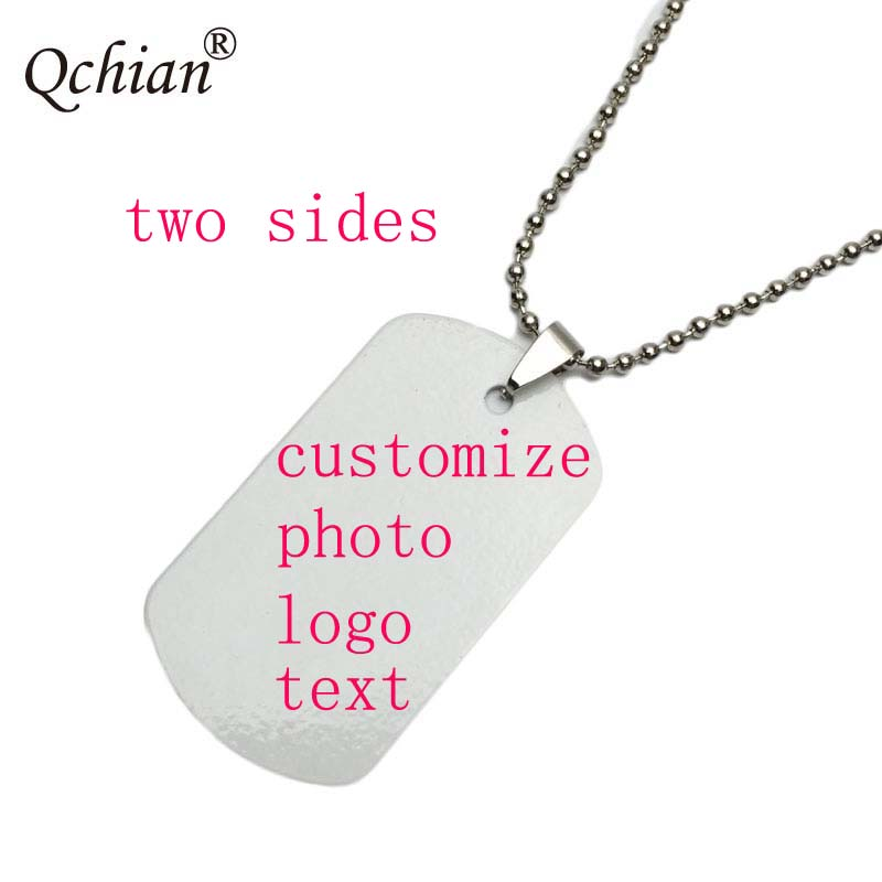 Custom Decorative Pendant Long Necklace Personality Dog Tag Picture Text LOGO Custom