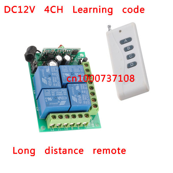 New 12V Wireless 4 Channel Remote Control Switch stepper Relay Switch 4CH RF 4 relays switch 315mhz/433mhz receiver